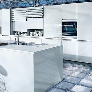 Schuller Next125  NX 902 Glass gloss crystal grey kitchen