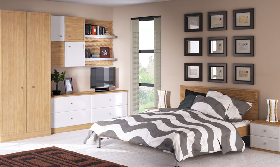 Bella Euroline Natural Oak White High Gloss Bedroom
