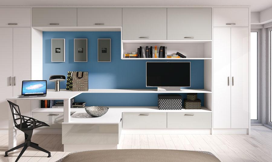 Zurfiz Ultragloss White And Grey Bedroom