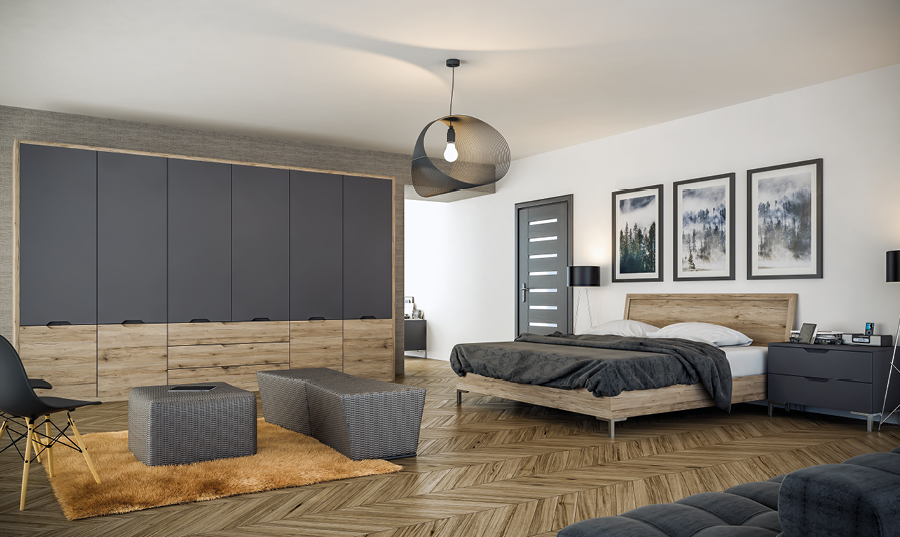 Bella Matt Graphite and San Remo Rustic Integra Bedroom