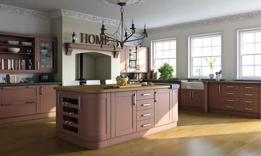Bella Paintable Shaker Kitchen Tuscan Red
