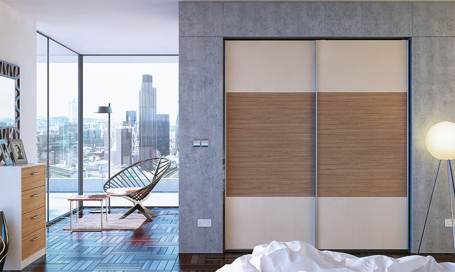 Glidor Cashmere Grey Brown Ontario Walnut Fitted Bedroom