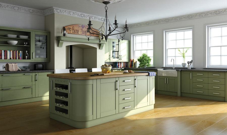 Bella Paintable Shaker Kitchen (Shown in Garden Green)
