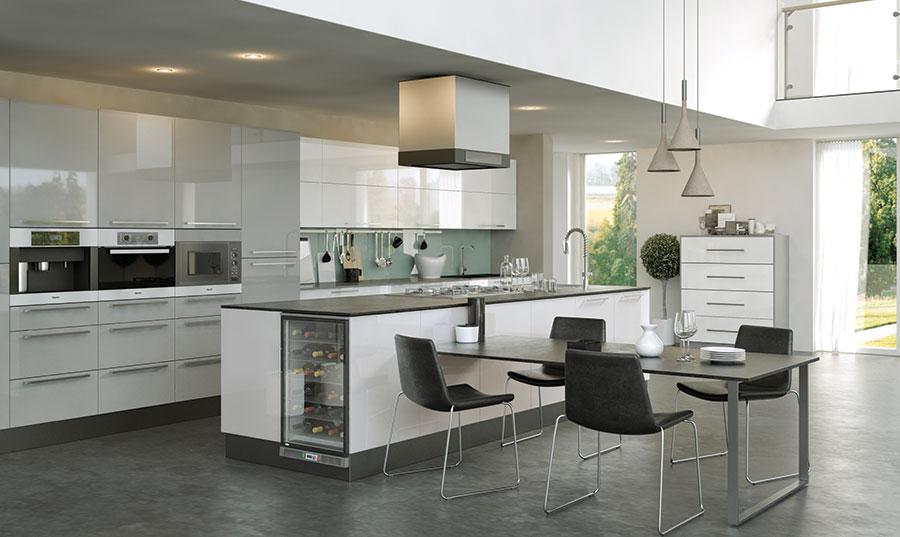Pronto Firbeck Supergloss White, Supergloss Light Grey Kitchen