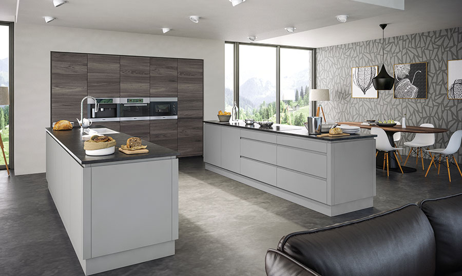 Pronto Rothwell Supermatt Light Grey, Malton Lava Elm Kitchen