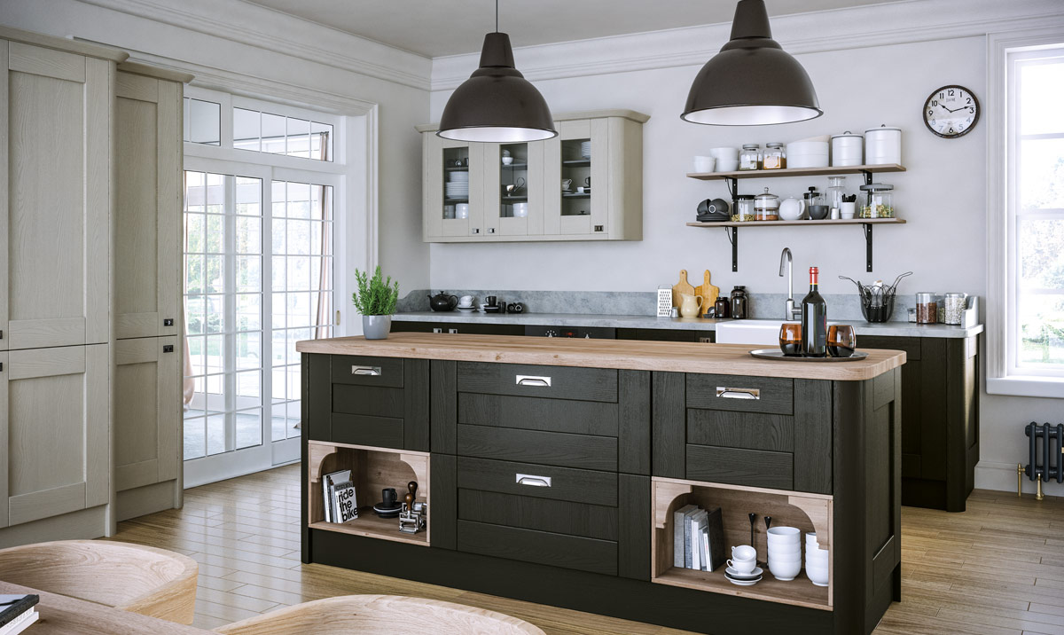 Pronto Wilton Oakgrain Graphite, Oakgrain Grey Kitchen