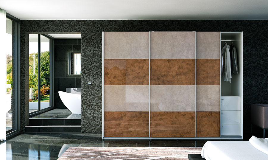 Glidor Fitted Wardrobe Ultragloss Limestone Ultragloss Copperleaf Bedroom