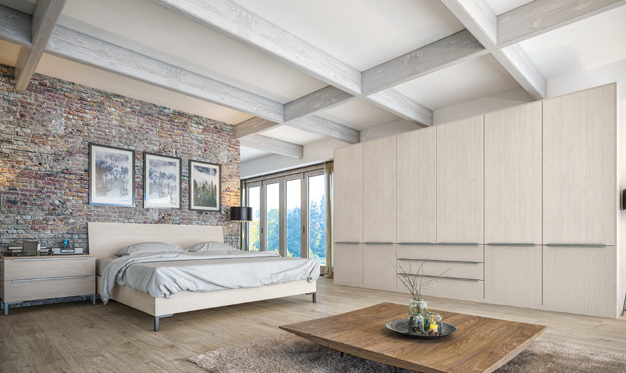 Valore White Swiss Larch and Cashmere Bedroom