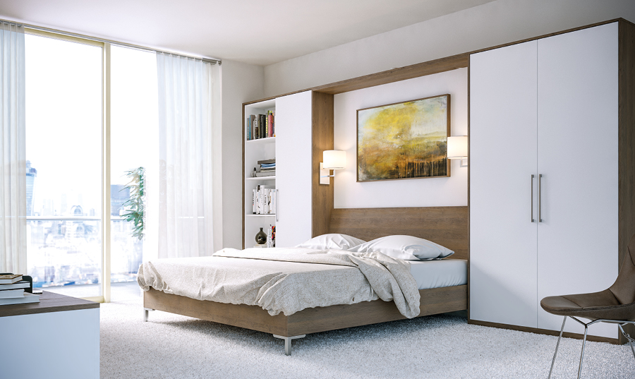 Zurfiz Gladstone Tobacco Oak and Supermatt White Bedroom
