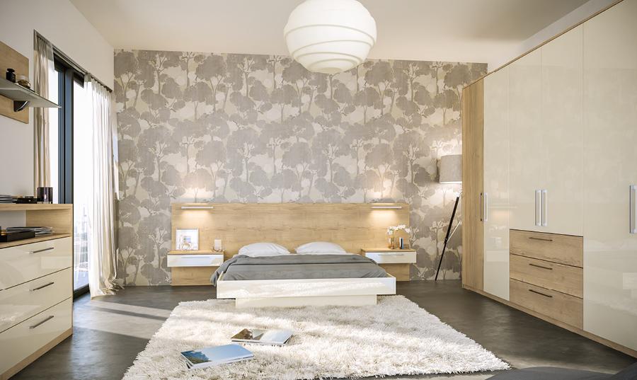 Zurfiz Halifax Natural Oak Ultragloss Cream Bedroom
