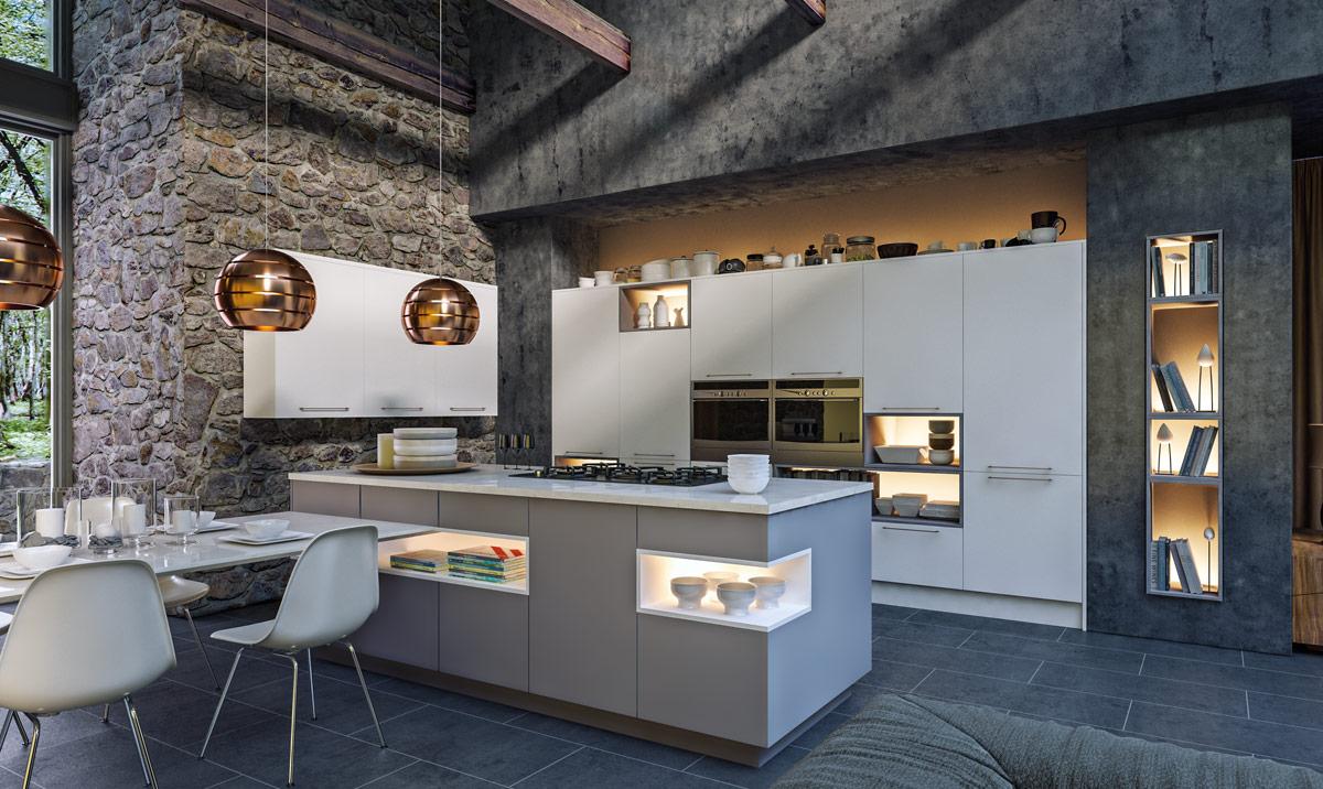 Zurfiz Supermatt White, Supermatt Dust Grey Kitchen
