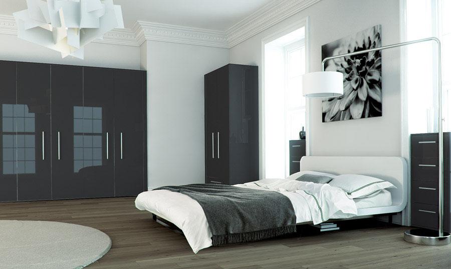 Zurfiz Ultragloss Metallic Anthracite High Gloss Bedroom Furniture