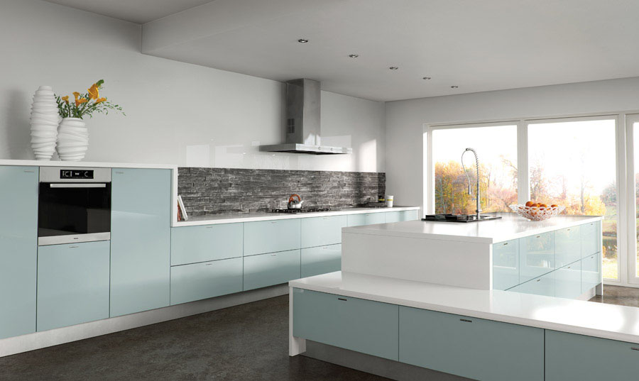 Zurfiz Ultragloss Metallic Blue Kitchen