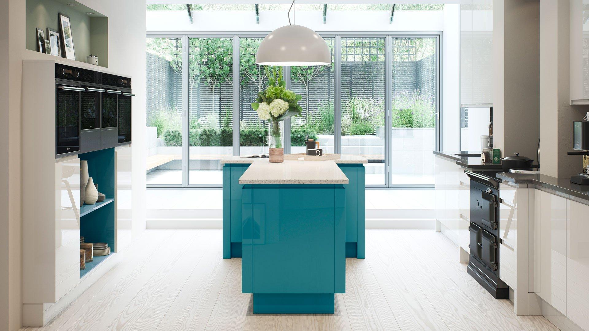 Multiwood Welford - Bright White & Sky Blue Kitchen