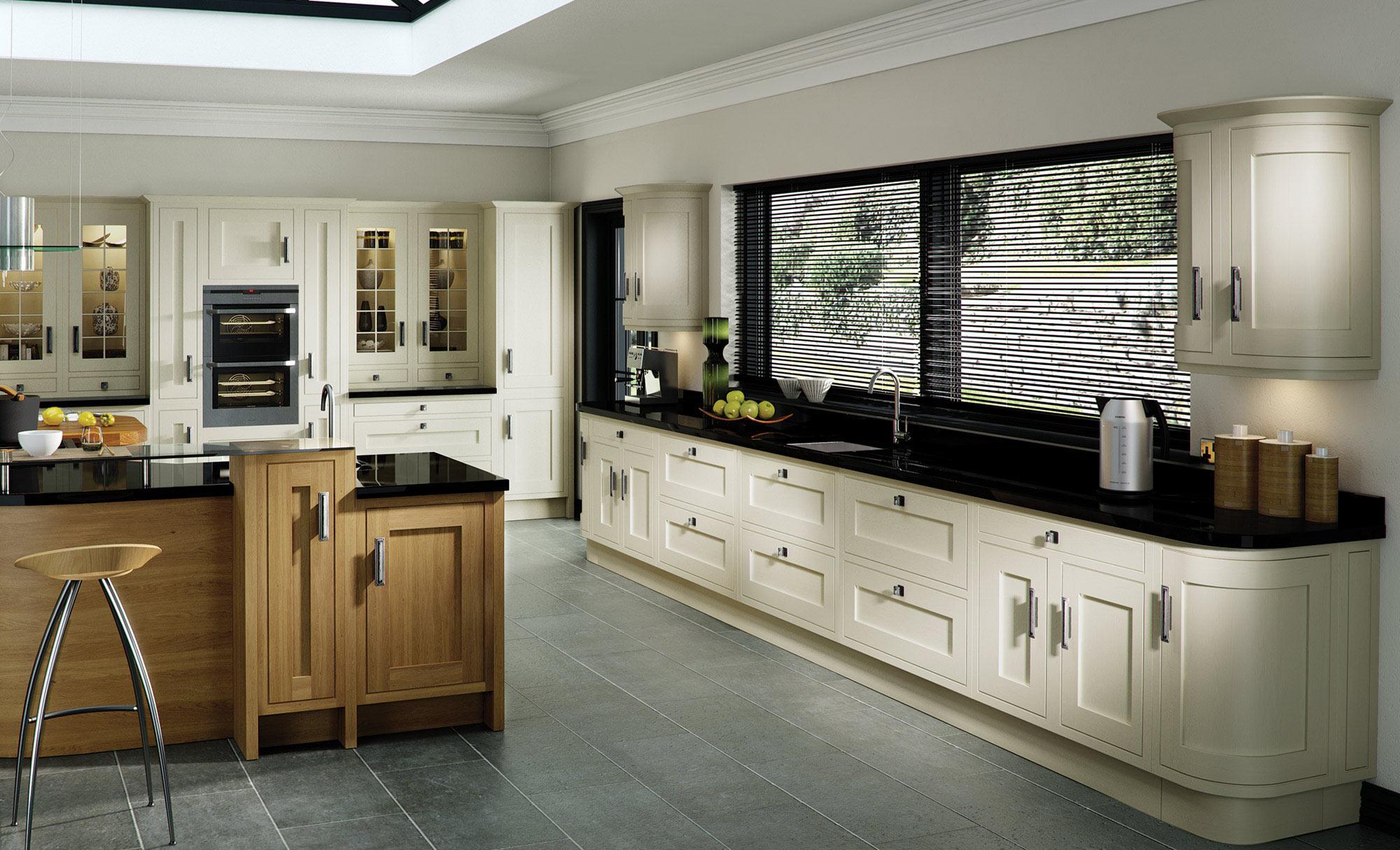 Uform Iona Inframe Light Oak & White Cotton Kitchen