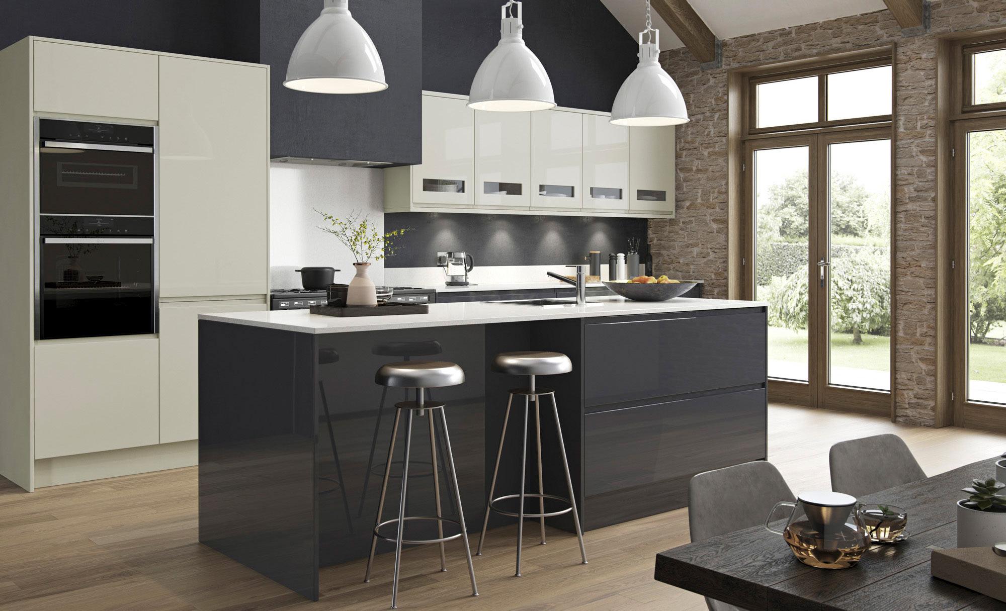Uform Strada Gloss Porcelain & Graphite  Kitchen