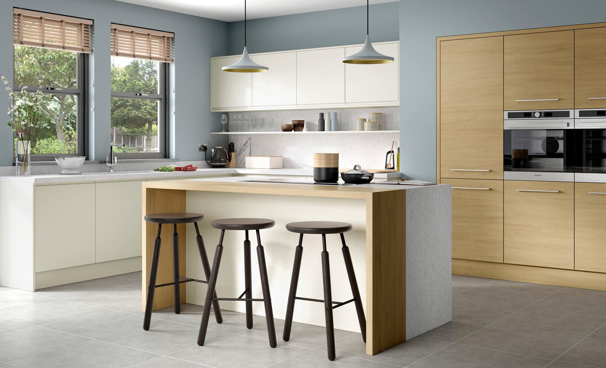 Uform Strada Matte Porcelain & Tavola Light Oak  Kitchen