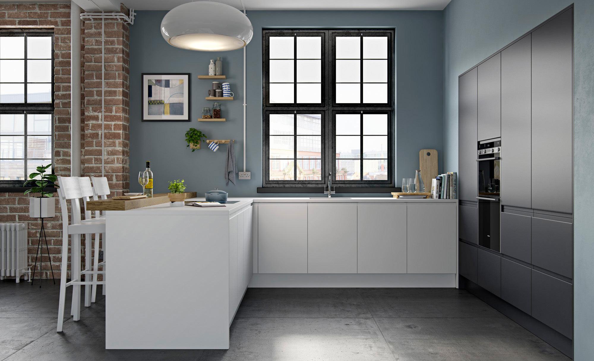 Uform Strada Matte White & Graphite  Kitchen