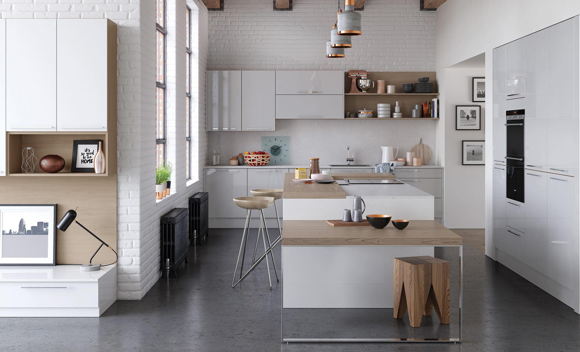 Uform Zola Gloss White & Light Grey Kitchen