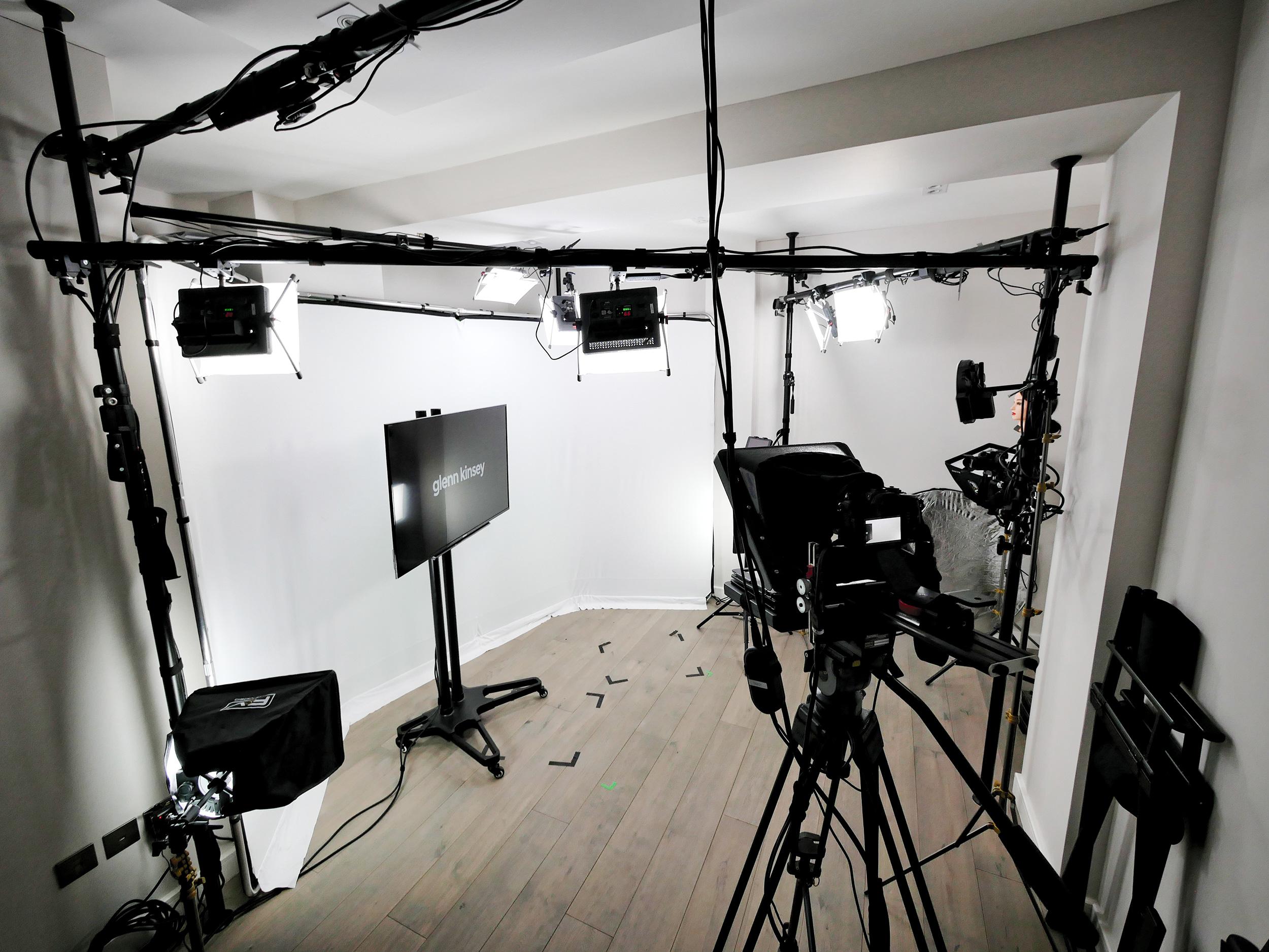 A white infinity set at Glenn Kinsey's TV Presenting Training Studio, London, UK