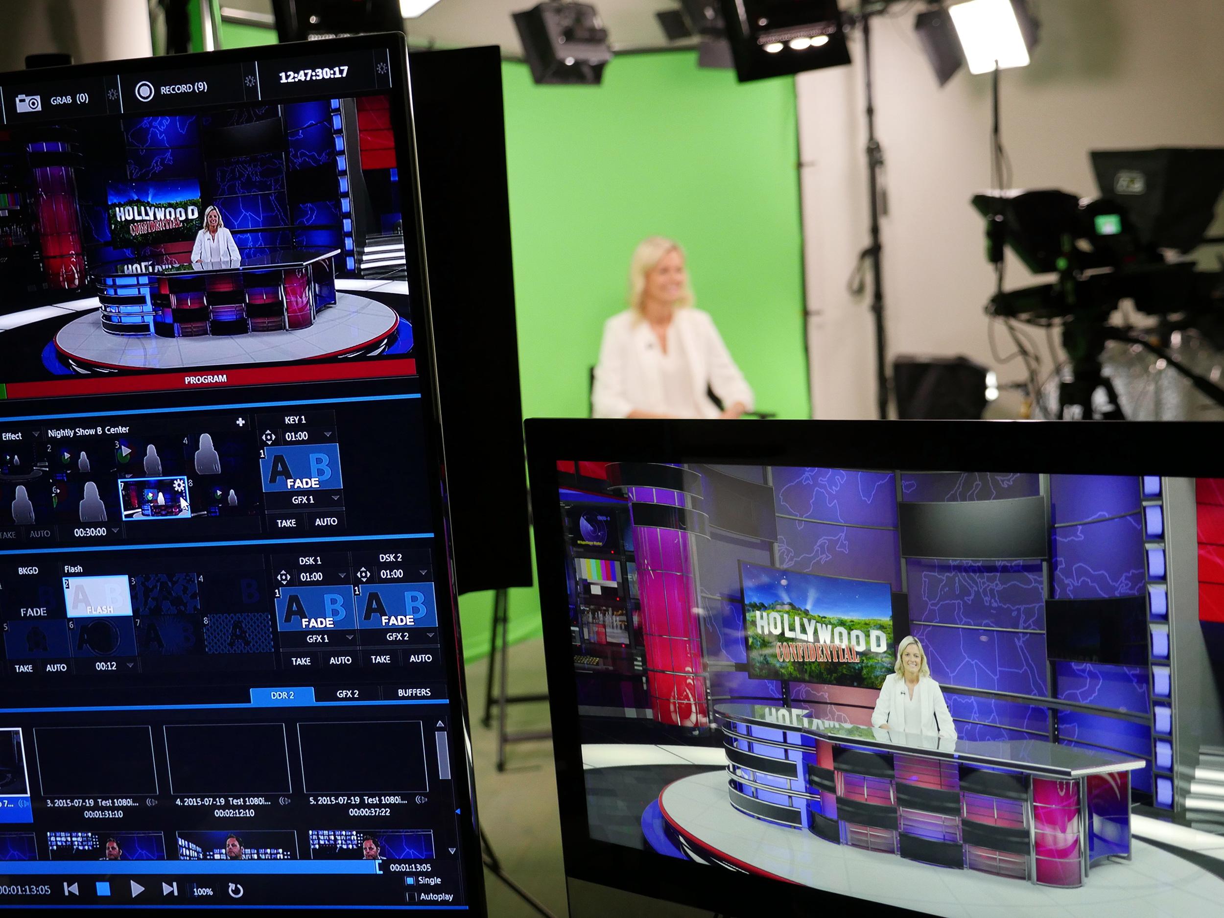 Recording on-camera in Glenn Kinsey's TV presenter training studio, London, UK