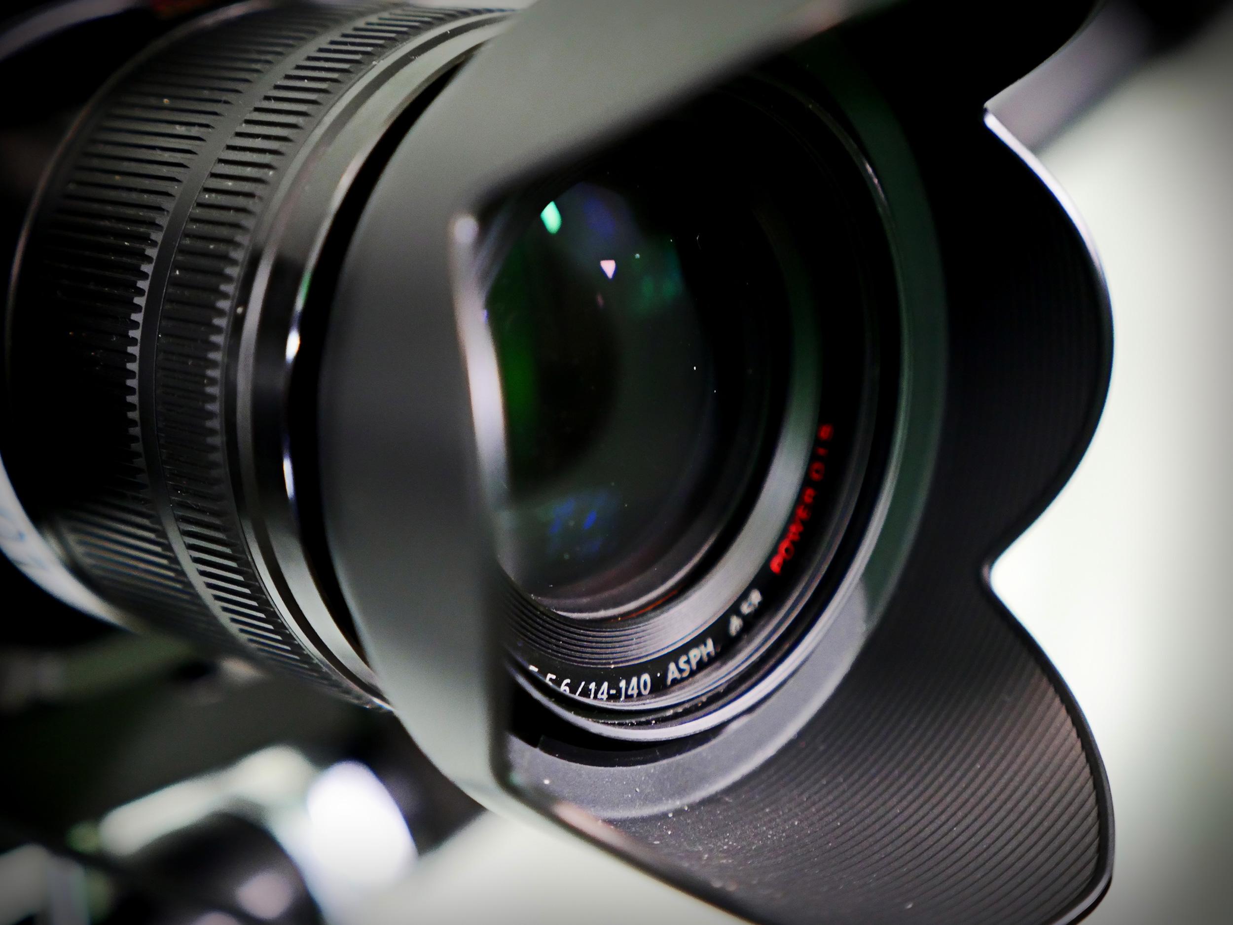 Camera lens in our TV presenter training studio, London