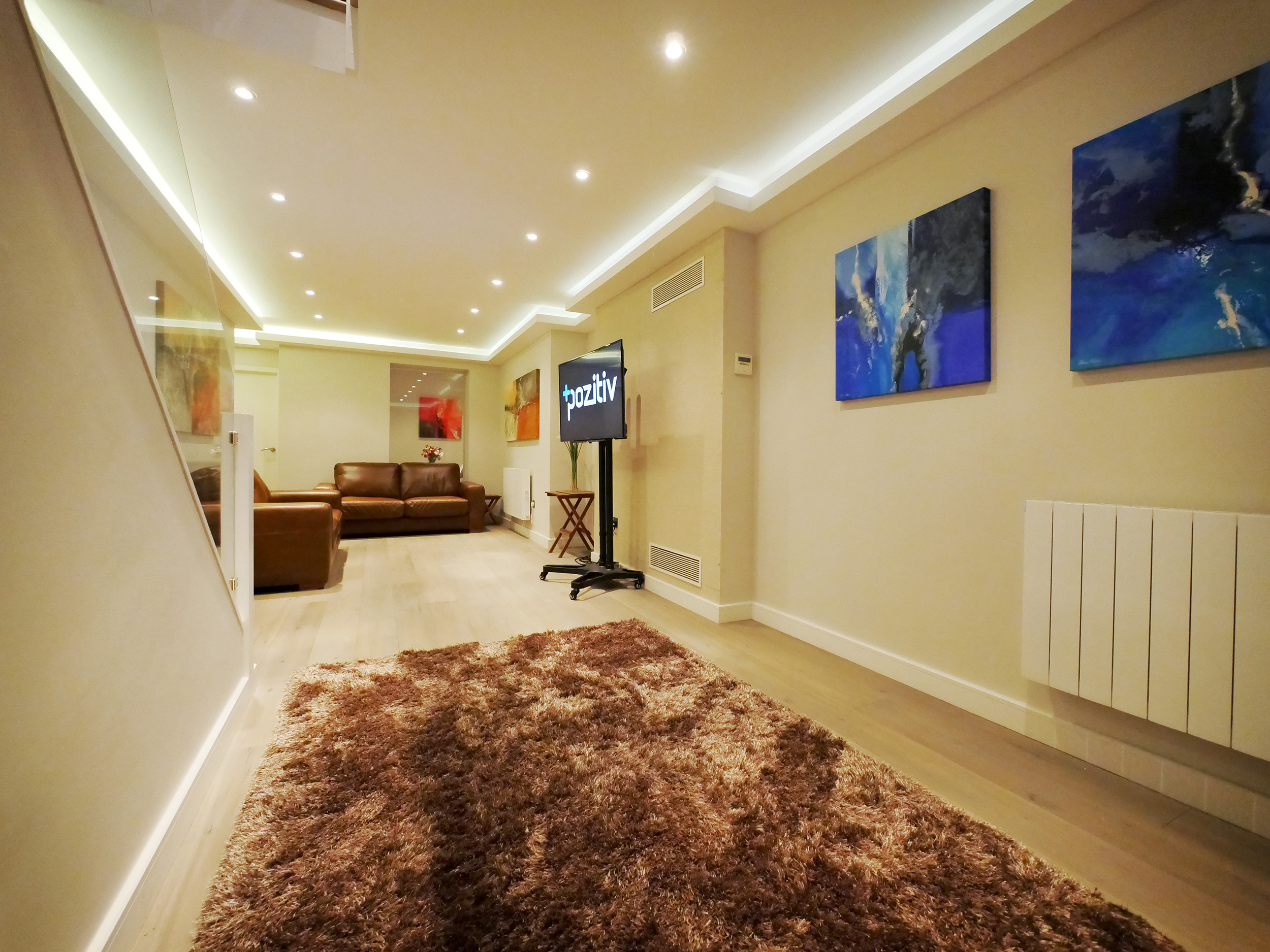 The relaxing Green Room in Glenn Kinsey's private TV Training Studio, London, UK