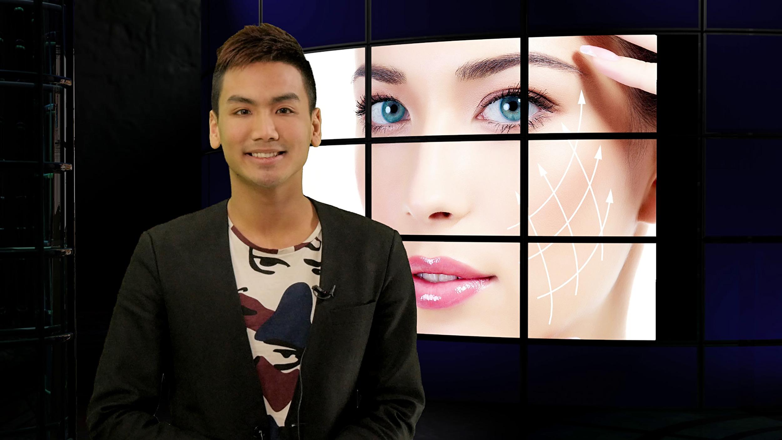 Piece to camera during TV presenter training