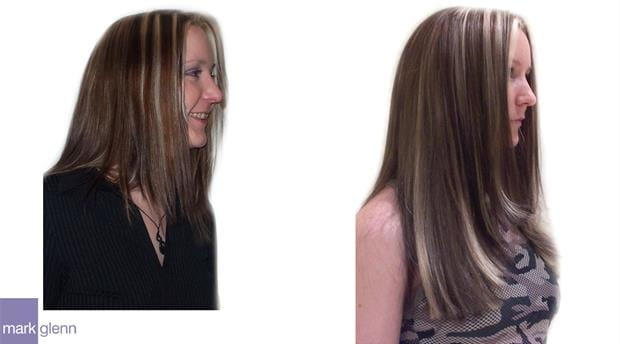 HE003 - Long with Bold Highlights Hair Extensions Before & After - Mark Glenn, London