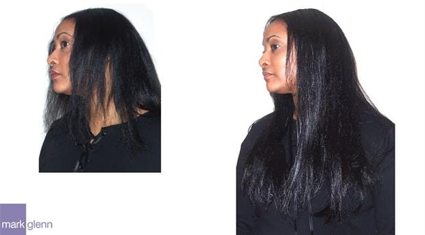 HE004 - Afro-Caribbean Silky Straight Hair Extensions Before & After - Mark Glenn, London, UK