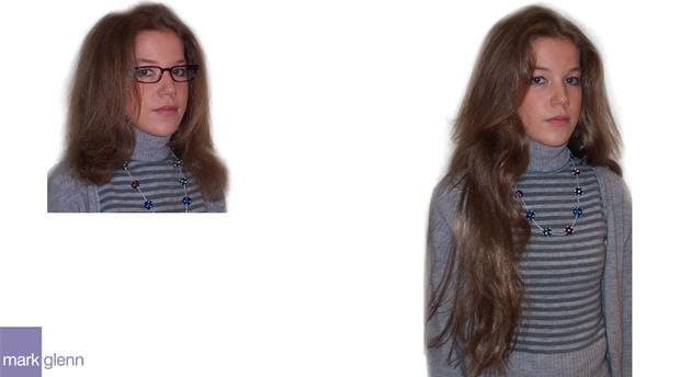 HE008 - Extra Long Hair Extensions Before and After - Mark Glenn, London