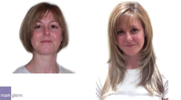 HE013 - Short Bob to Long with Highlights - Hair Extensions Before & After - Mark Glenn, London, UK