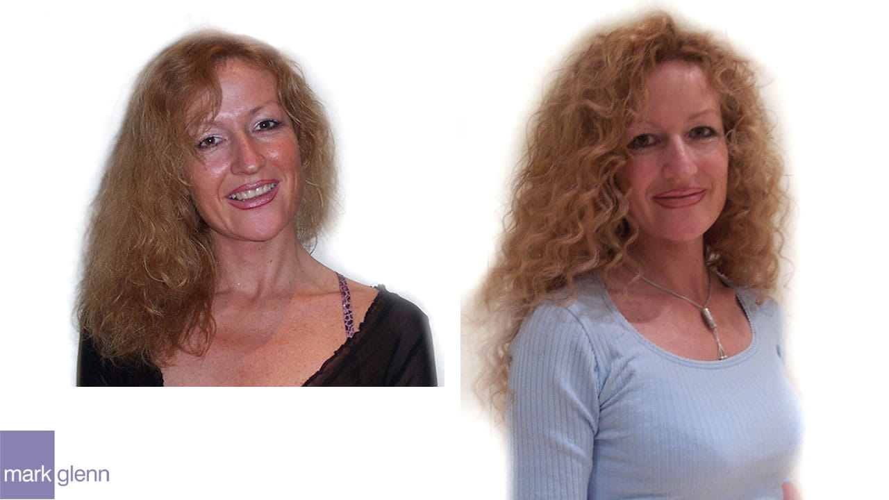 HE026 - Gorgeous Long Curls Hair Extensions Before & After - Mark Glenn, London