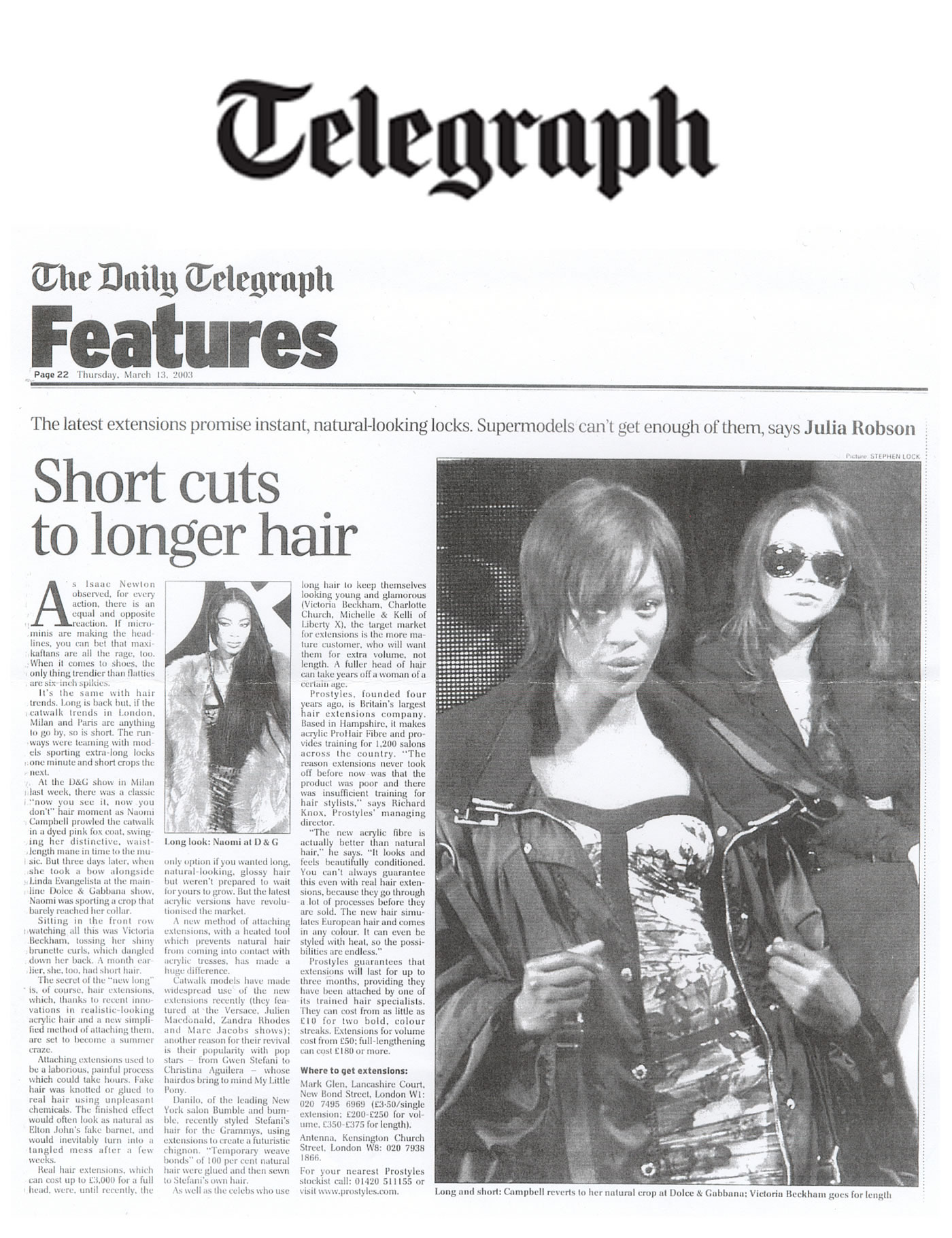 Celebrity hair extensions in The Daily Telegraph