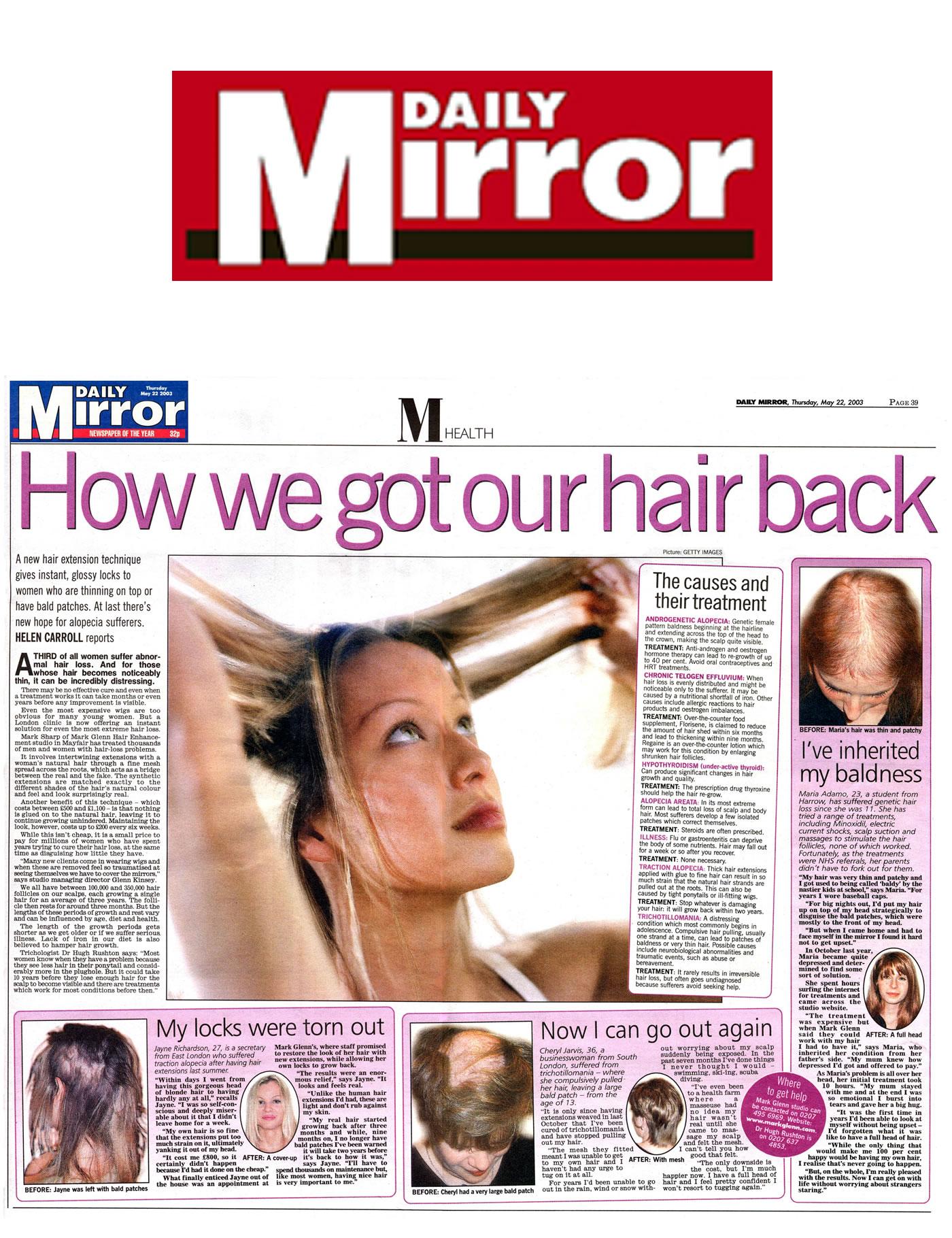 Daily Mirror hails Mark Glenn's female hair loss techniques