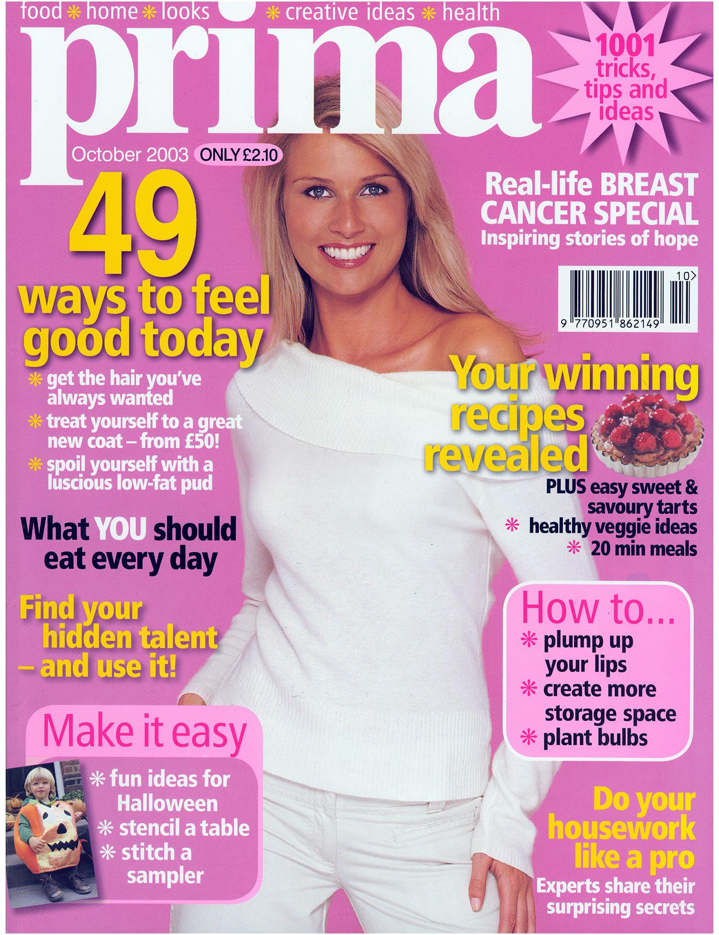 Prima Magazine - October 2003 front cover