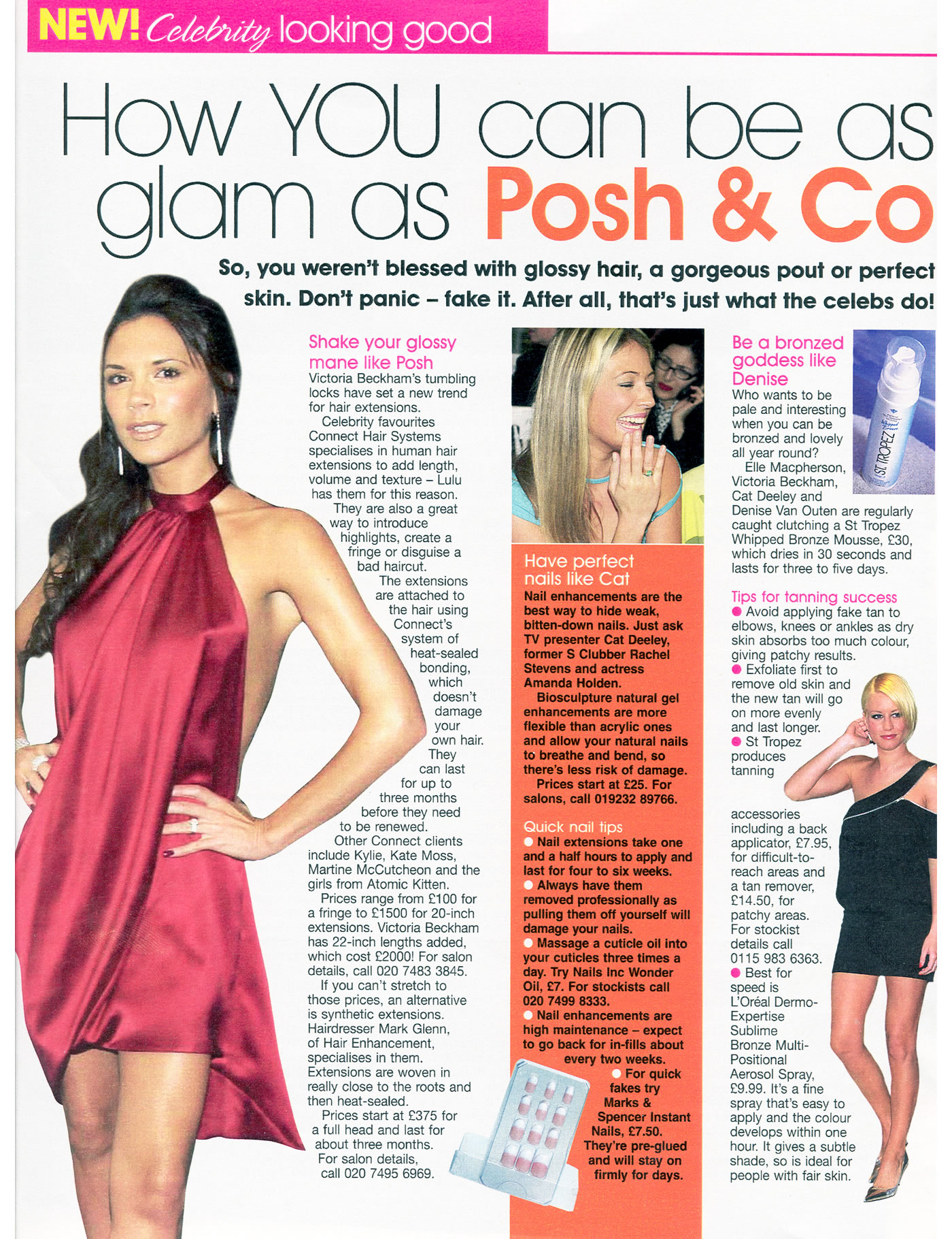 'How To Be As Glam As Posh & Co' - MG hair extensions in Bella Magazine