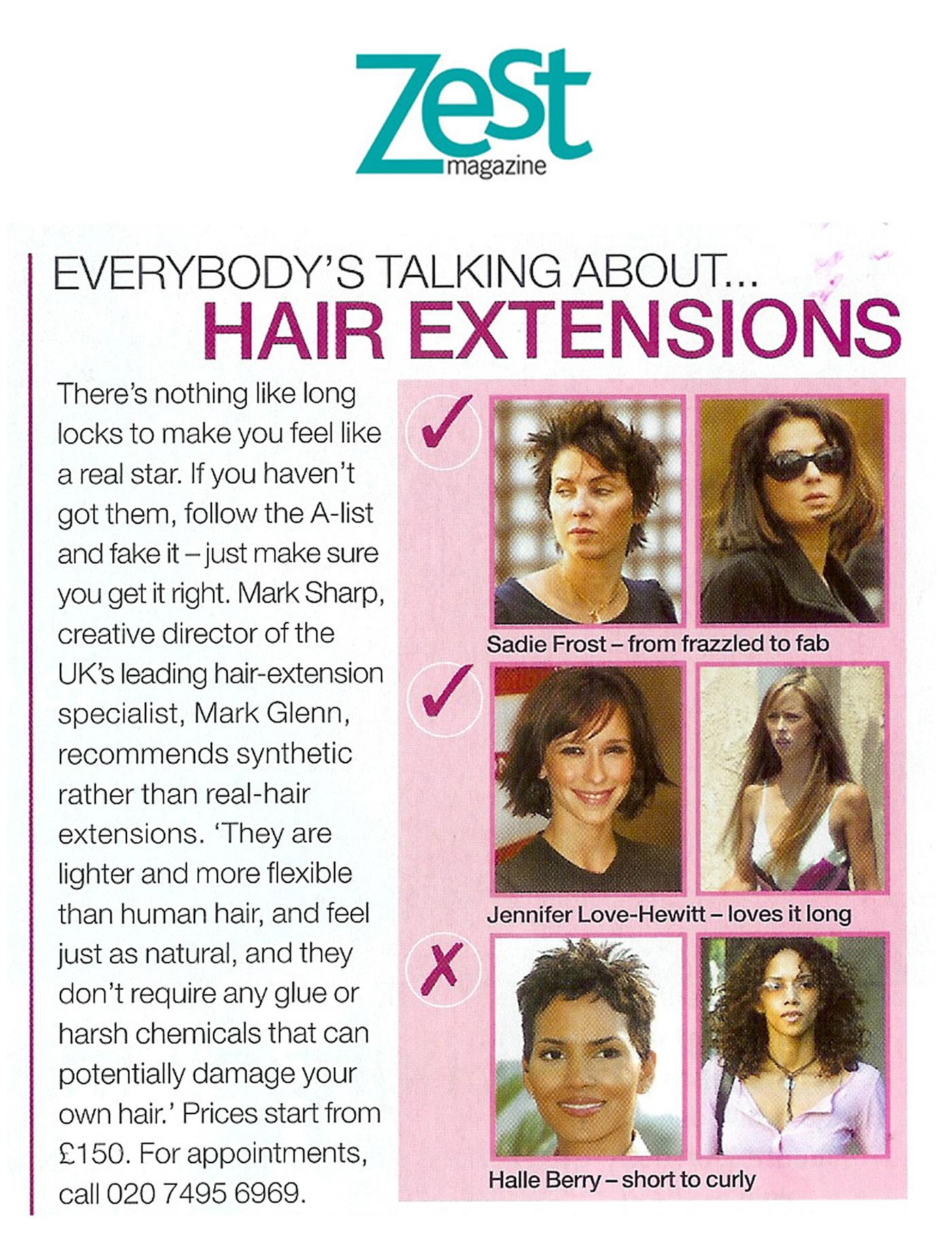 Mark Glenn - 'The UK's leading hair extension specialists' says Zest Magazine