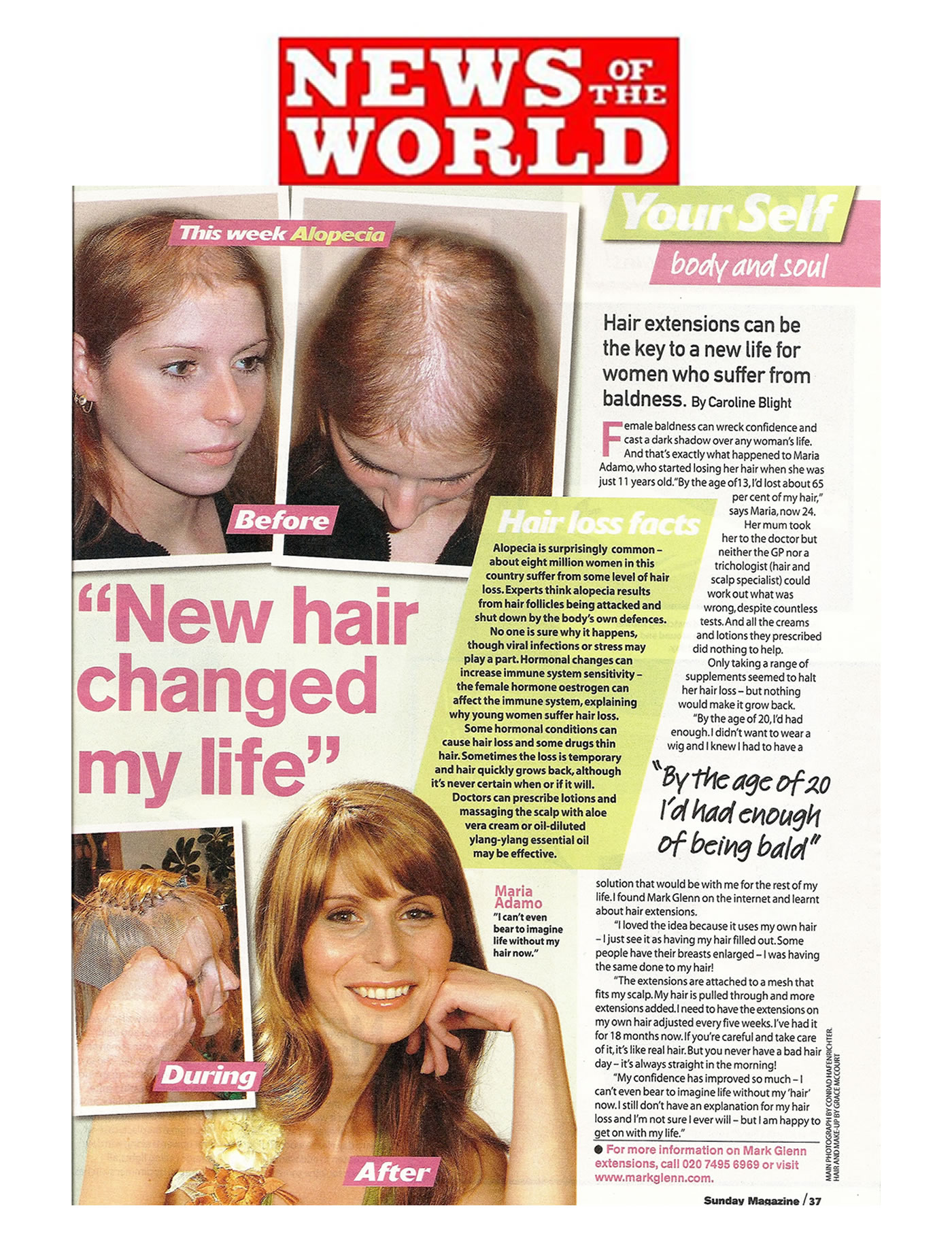 'New hair changed my life' - MG hair extensions for alopecia in News of the World