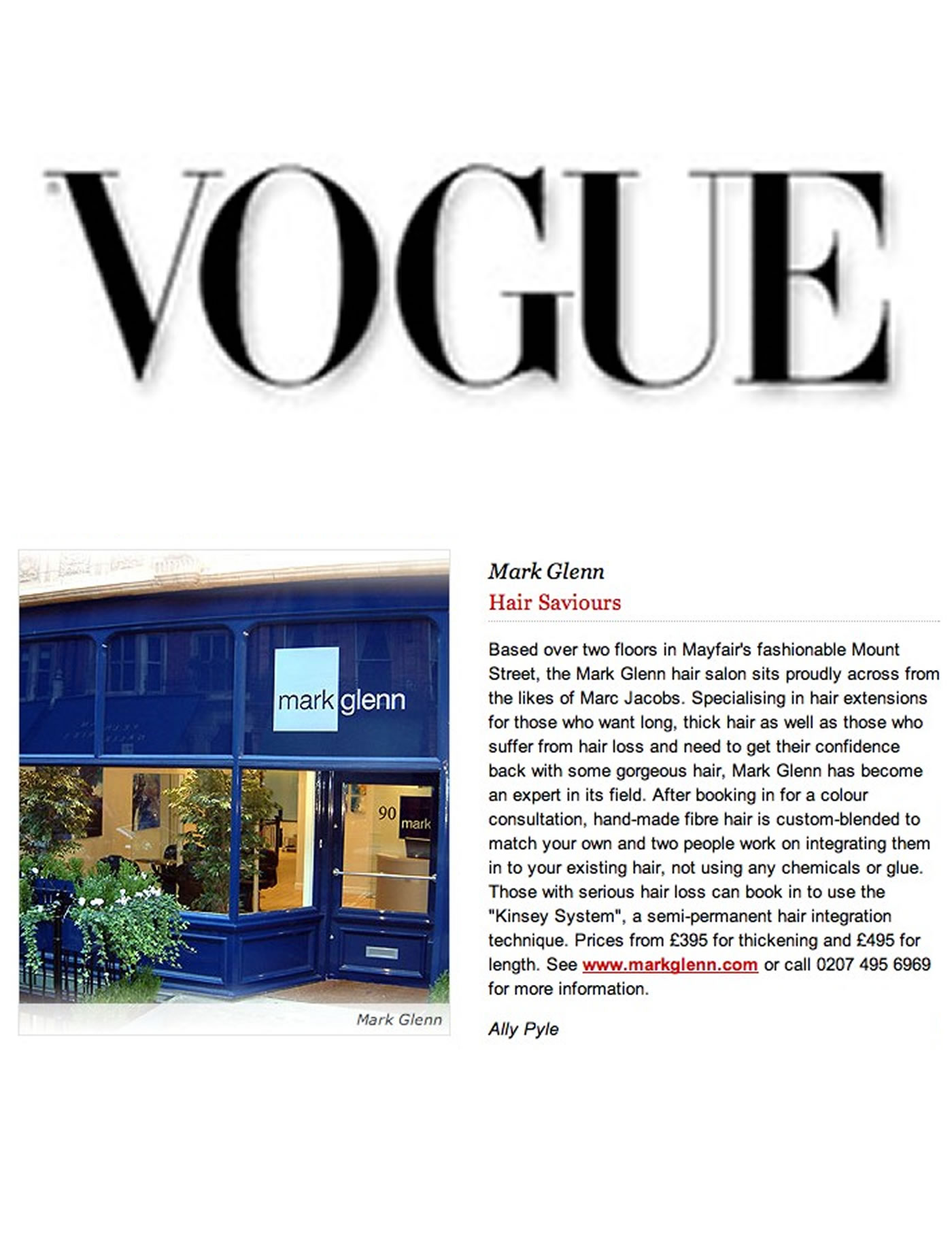 Mark Glenn - both 'hair saviours' and 'the hair extension experts' says Vogue
