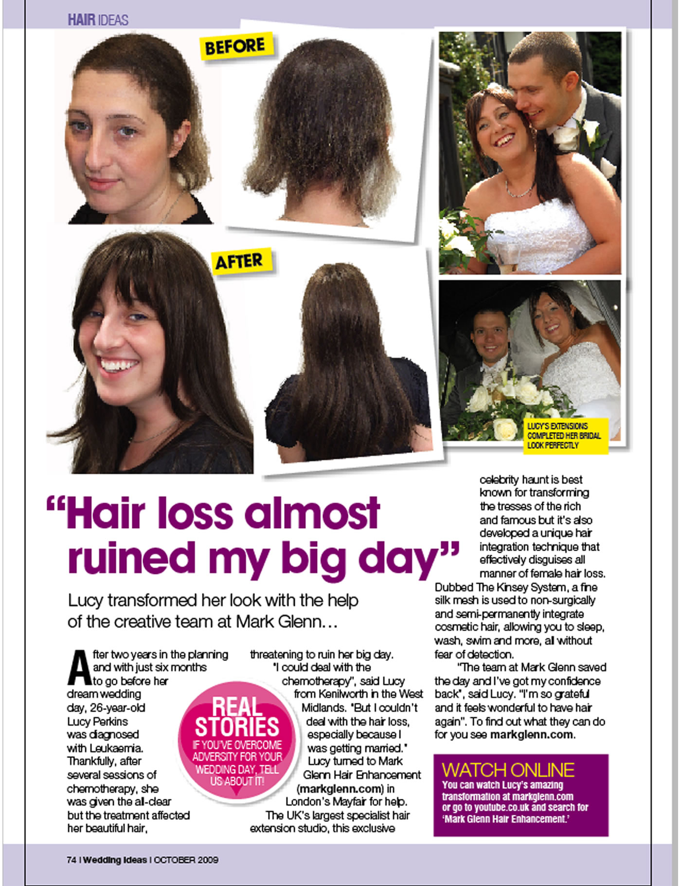 'Chemotherapy hair loss almost ruined my wedding - but Mark Glenn saved the day' - Wedding Ideas Magazine