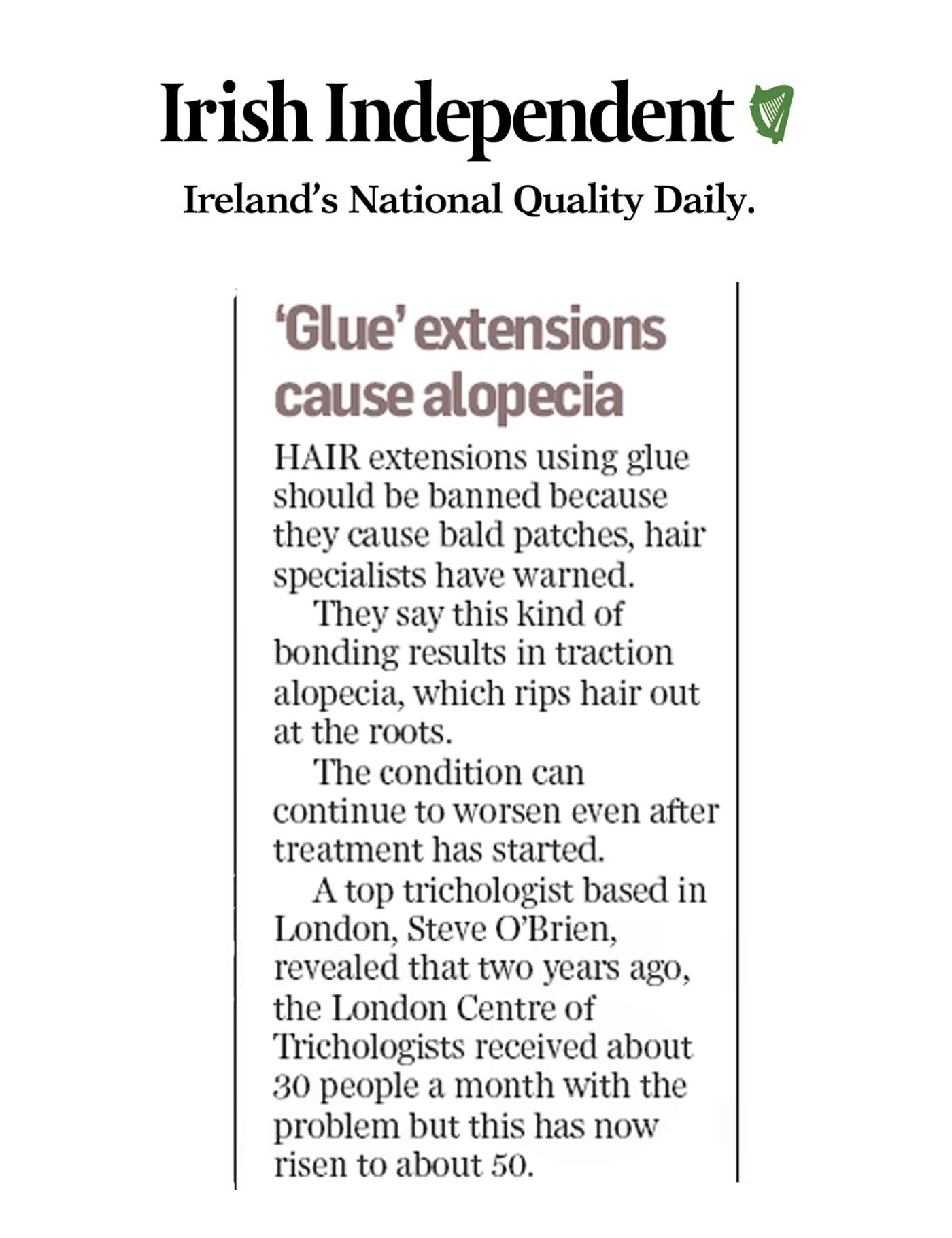 'Glue hair extensions cause alopecia' - BBC & Irish Independent