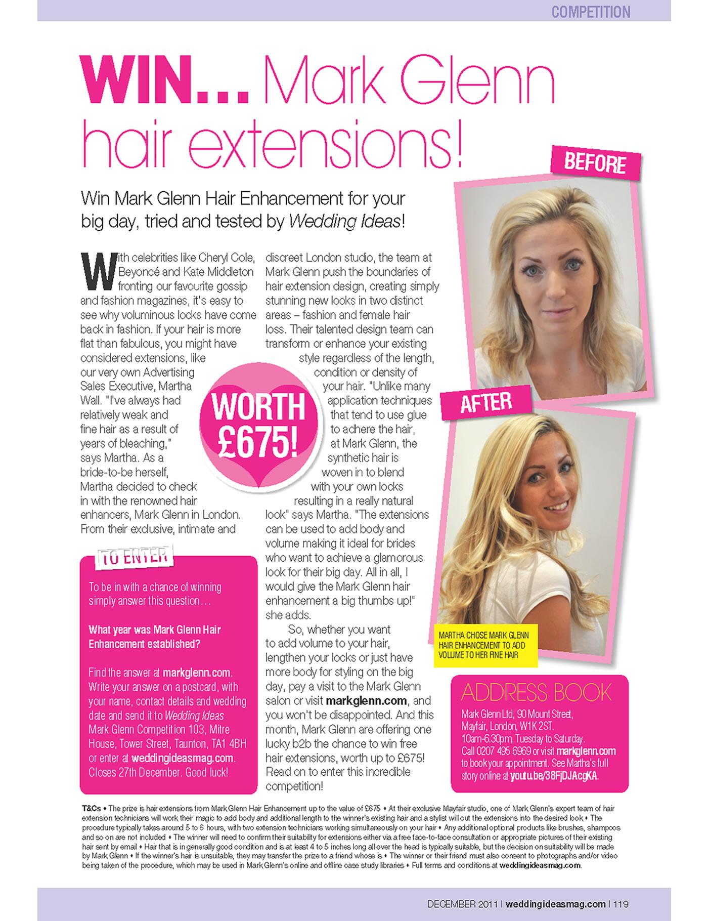 'Win Mark Glenn hair extensions' - Wedding Ideas Magazine