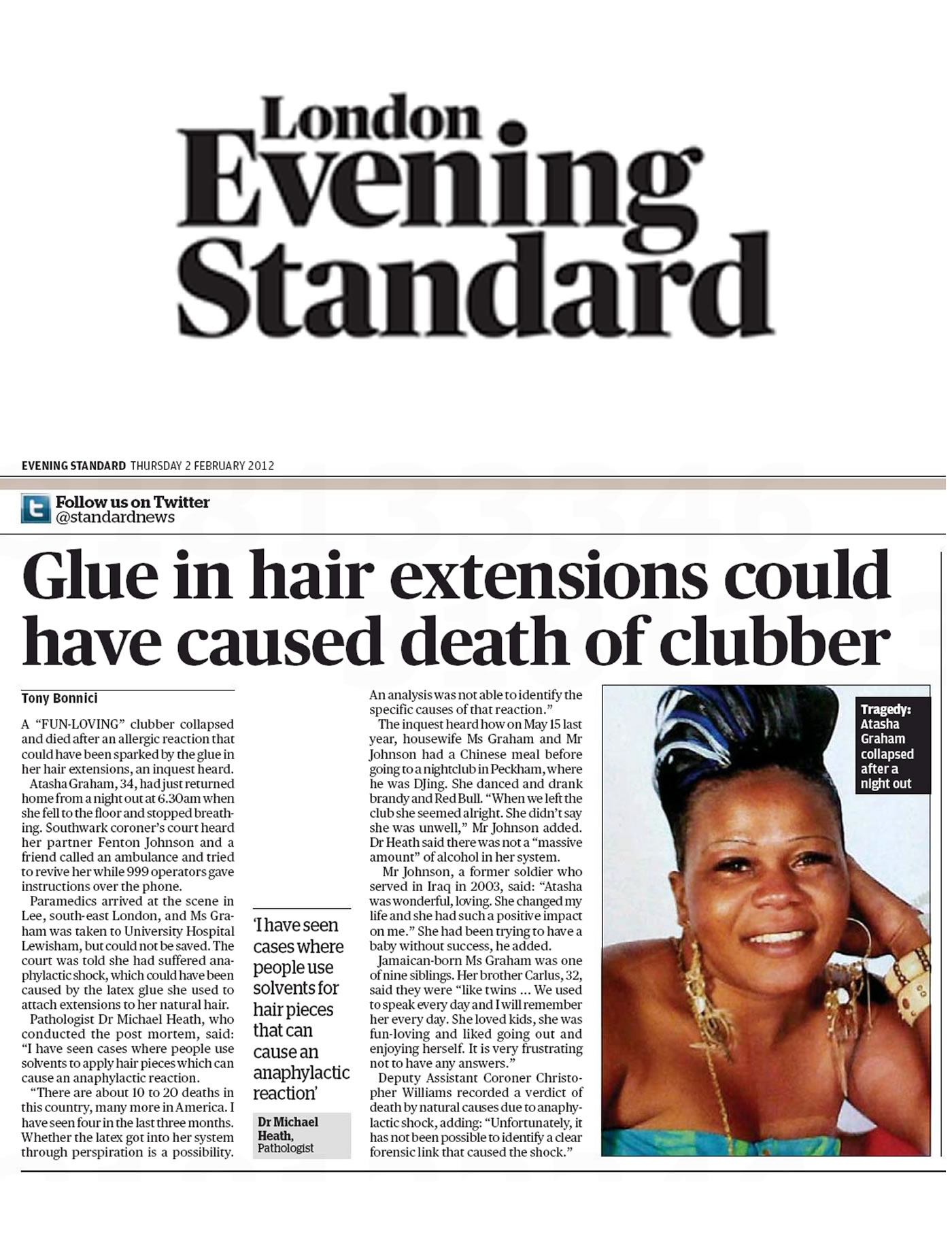 'Glue in hair extensions could have caused death of clubber' - Evening Standard, London