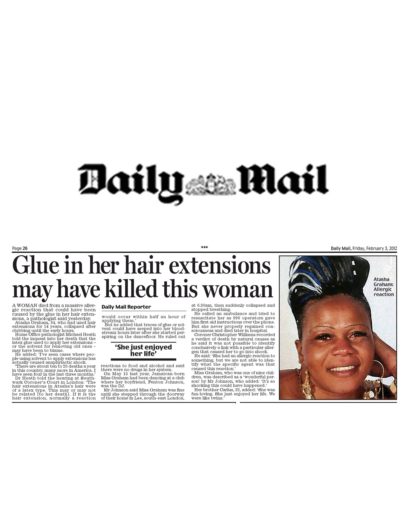 'Glue in her hair extensions may have killed this woman' - Daily Mail