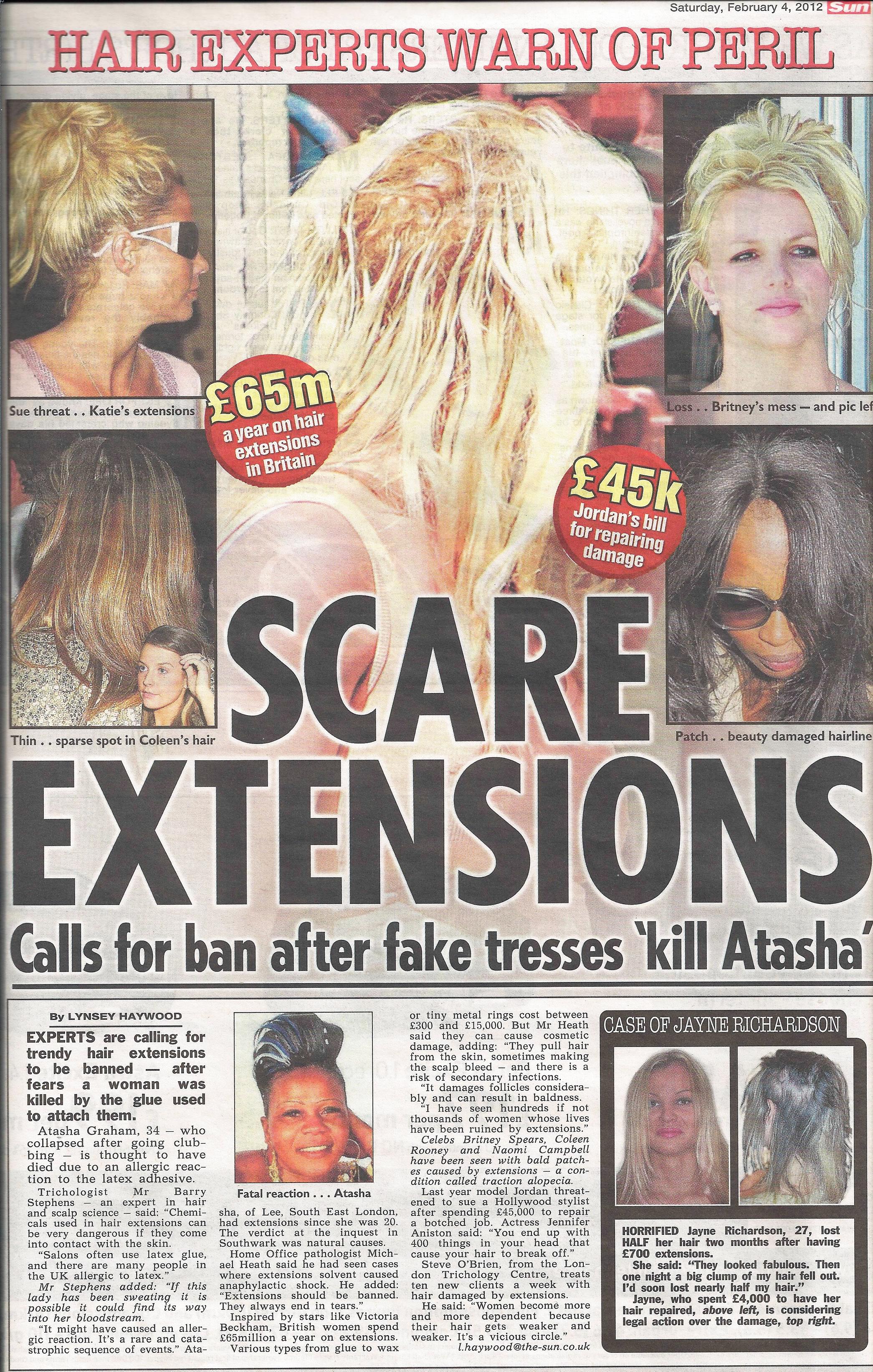 'Scare Extensions - Calls for ban after fake tresses 'kill Atasha'' - The Sun