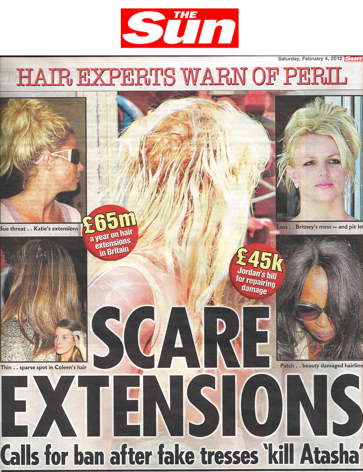 'Scare Extensions - calls for ban after glue 'kills' girl' - The Sun & others