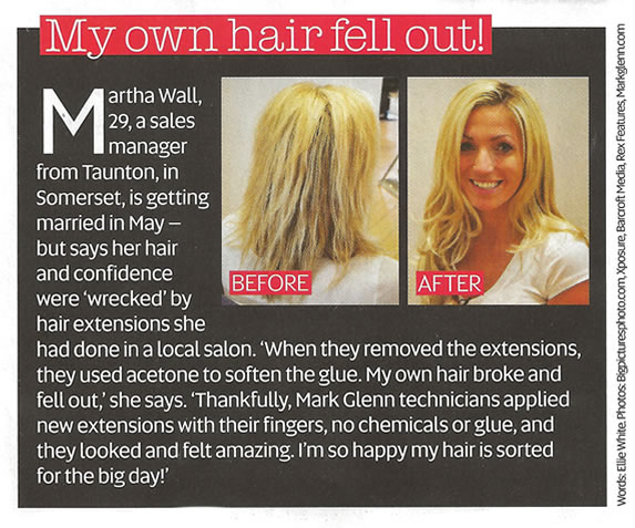 'My own hair fell out' - Now Magazine, Hair Extensions