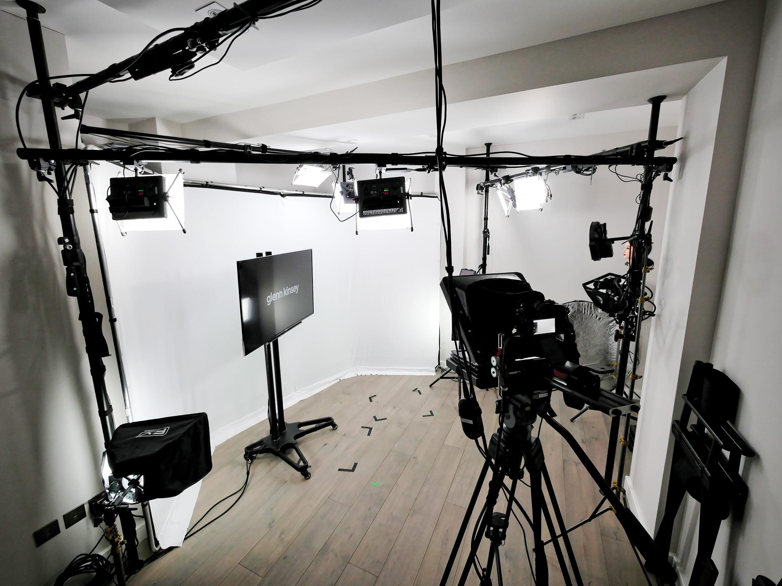 A white infinity set at Pozitiv's TV Training Studio, London, UK