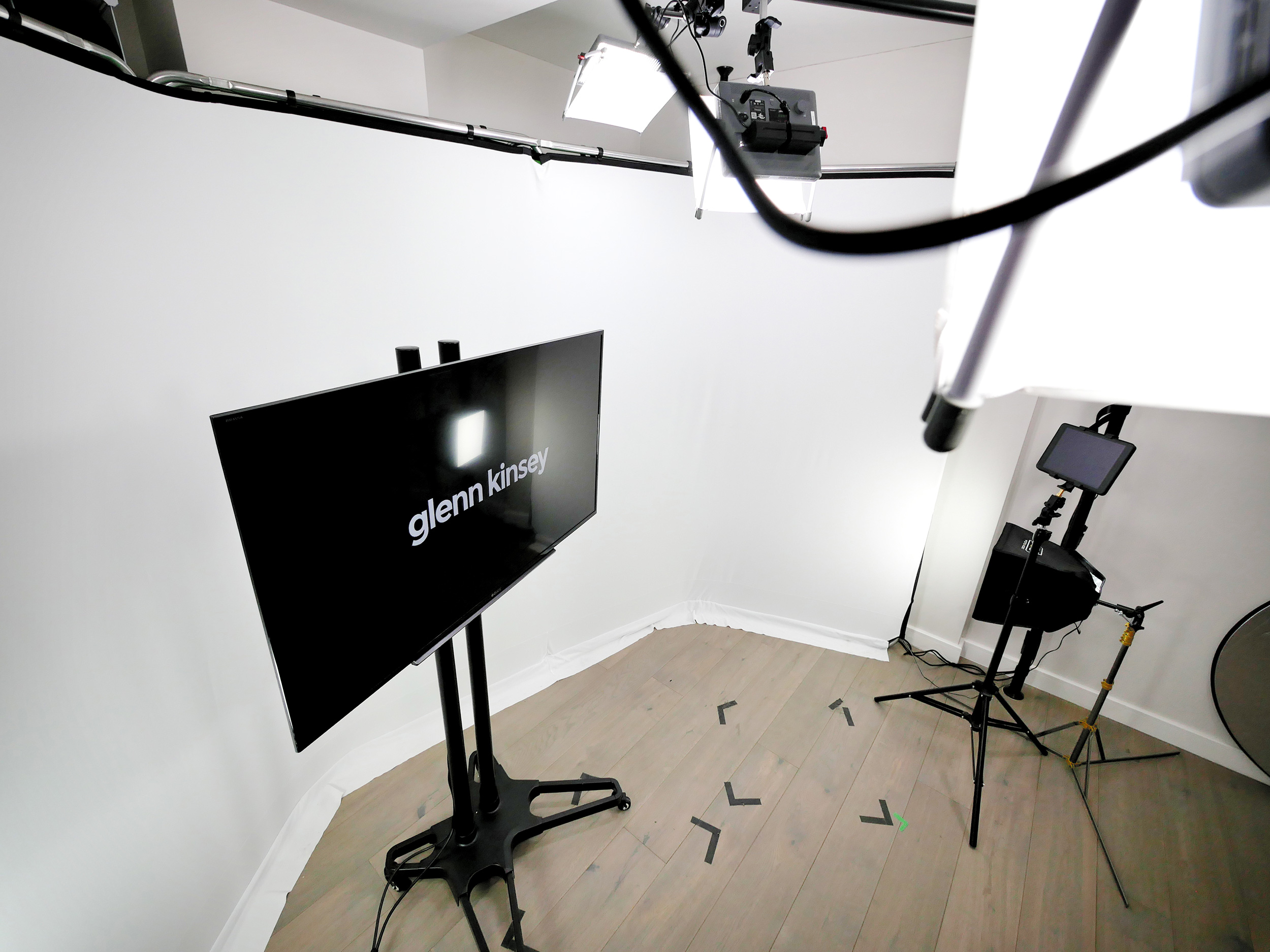 White infinity set area in Pozitiv's studio, London
